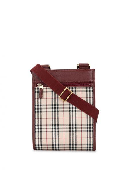 Красная парусиновая сумка через плечо на молнии с карманами Burberry Pre-owned