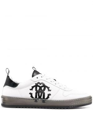 Кожаные белые кроссовки на шнуровке Roberto Cavalli