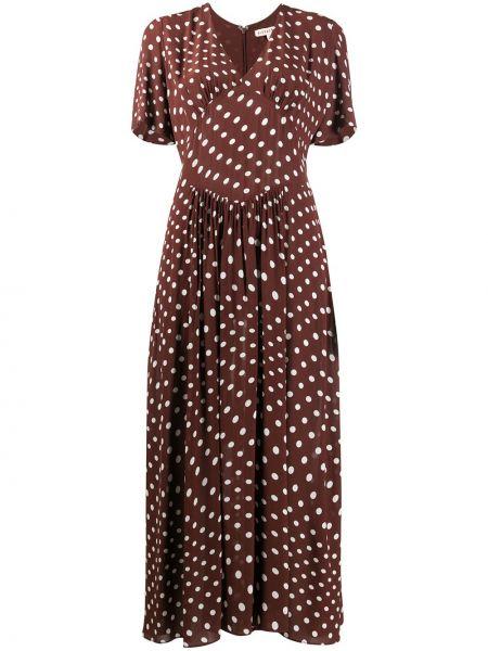 Коричневое платье мини с V-образным вырезом на молнии с короткими рукавами Alexa Chung