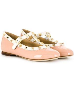 Лаковые кожаные розовые балетки Prosperine Kids