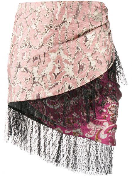 Шелковая розовая с завышенной талией юбка с оборками Christian Pellizzari