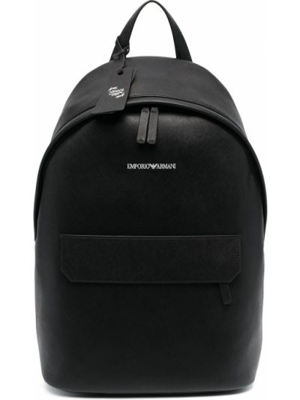 Czarny plecak skórzany z printem Emporio Armani