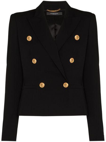 Черный пиджак двубортный для полных Versace