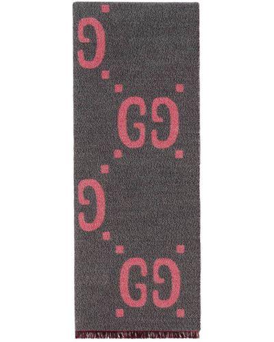 Szary wełniany szalik Gucci