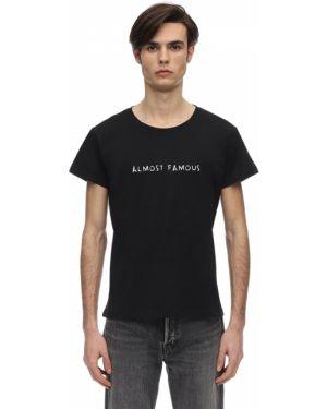 Czarny t-shirt bawełniany z haftem Nasaseasons