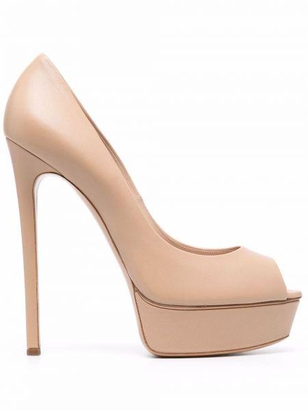 Бежевые туфли с открытым носком Casadei