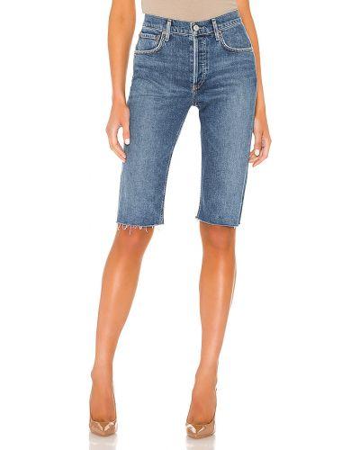 Bawełna światło niebieski dżinsowe szorty Agolde