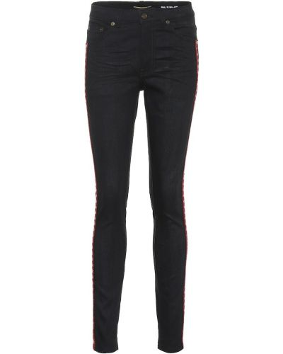 Czarny bawełna bawełna obcisłe dżinsy z haftem Saint Laurent