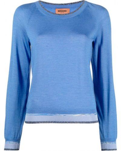 Trykotowy niebieski sweter z okrągłym dekoltem okrągły dekolt Missoni