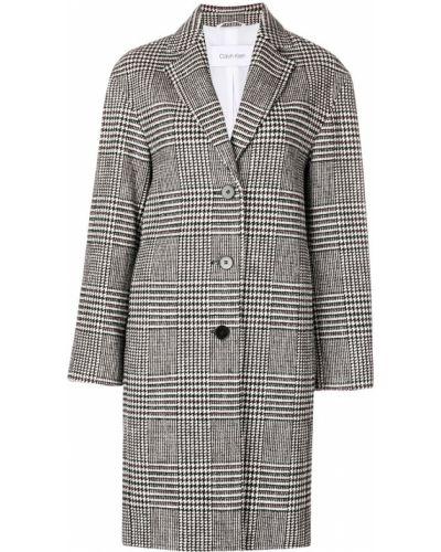Шерстяное белое длинное пальто с капюшоном Calvin Klein