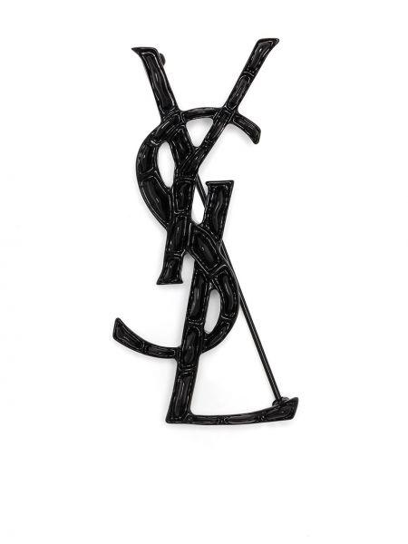 Czarna broszka Saint Laurent