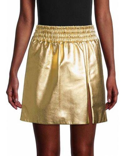 Кожаная юбка мини с подкладкой золотая Miu Miu