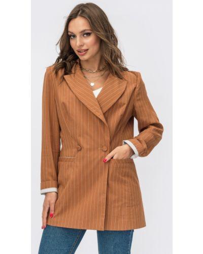 Льняной пиджак - коричневый Dressa