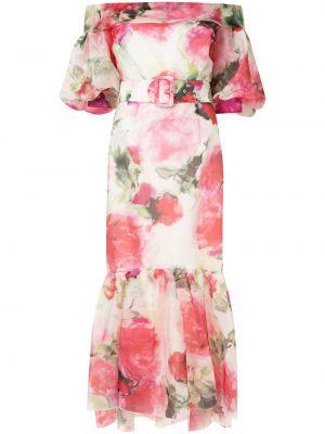 Шелковое с рукавами розовое вечернее платье Marchesa