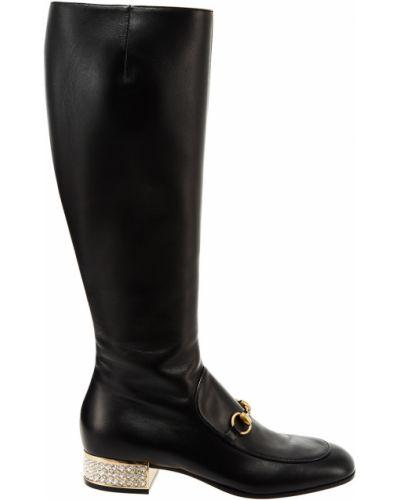 Кожаные сапоги высокие на каблуке Gucci