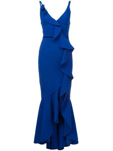 Платье каскадное с V-образным вырезом Marchesa Notte