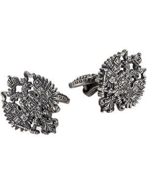 Запонки из серебра черные Ku&ku