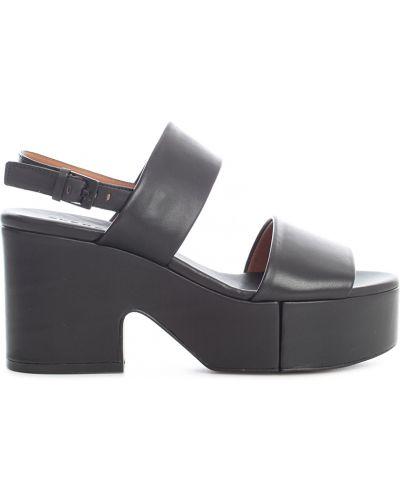 Czarne sandały na obcasie Clergerie