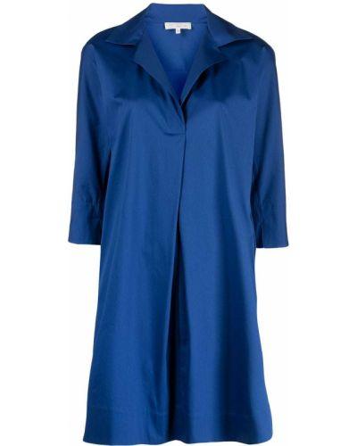 Хлопковое с рукавами синее платье-рубашка Antonelli