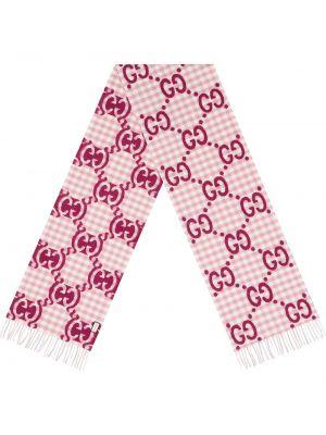 Różowy szalik wełniany z frędzlami Gucci