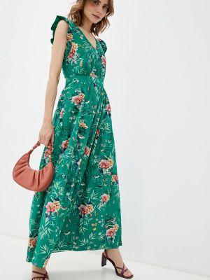 Прямое зеленое платье А-силуэта Naf Naf