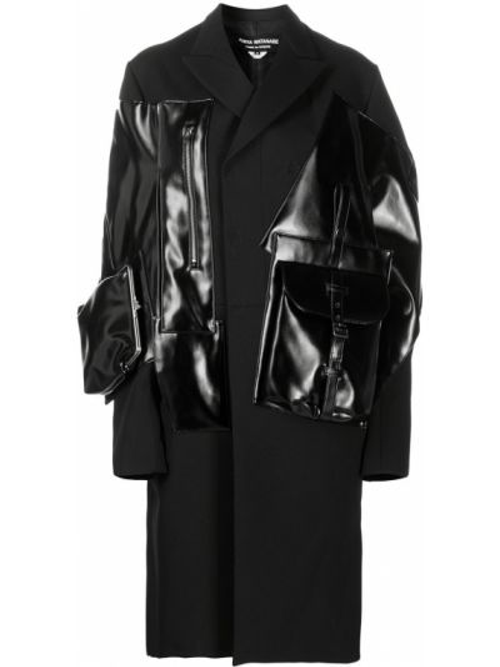 Шерстяное черное длинное пальто на молнии Junya Watanabe