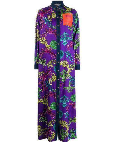 Расклешенное фиолетовое платье макси с воротником Versace Jeans