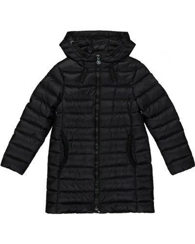 Пуховое черное пальто классическое Moncler Enfant