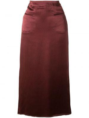Шелковая ажурная фиолетовая с завышенной талией юбка макси Rejina Pyo