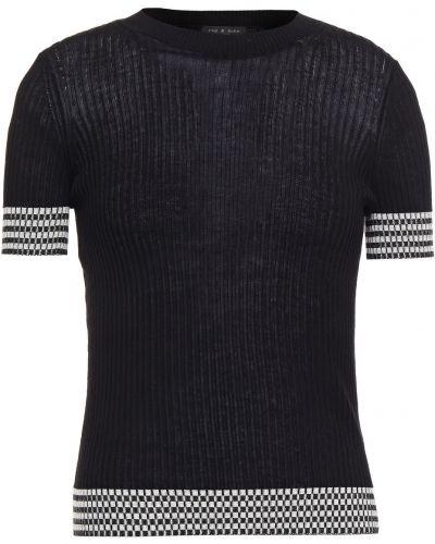 Prążkowany czarny top bawełniany Rag & Bone