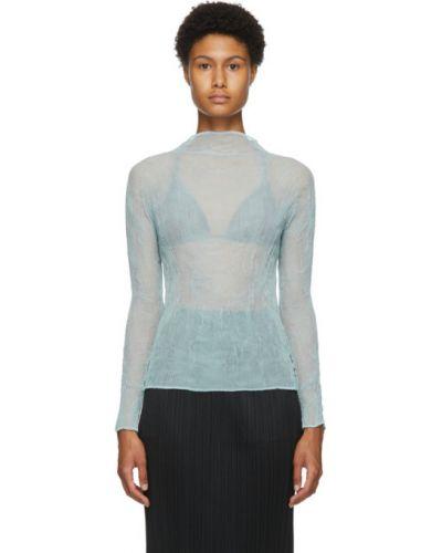Синяя плиссированная шифоновая блузка с длинным рукавом с воротником Issey Miyake