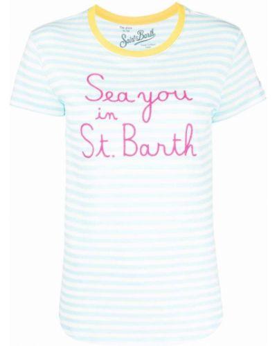 Прямая желтая футболка в полоску Mc2 Saint Barth