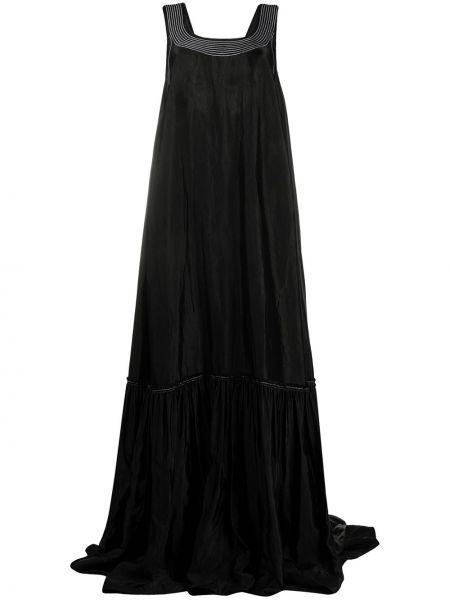 Черное платье макси на бретелях с вырезом из вискозы Nina Ricci