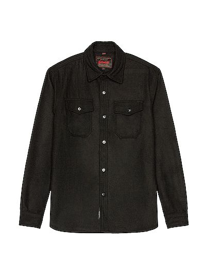 Czarna koszula wełniana Schott