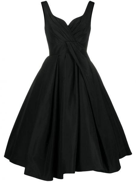 Шелковое черное платье миди с вырезом Alexander Mcqueen
