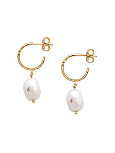 С ромбами золотистые желтые серьги-гвоздики с бриллиантом Nialaya Jewelry