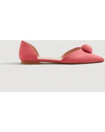 Розовые балетки с острым носком Mango