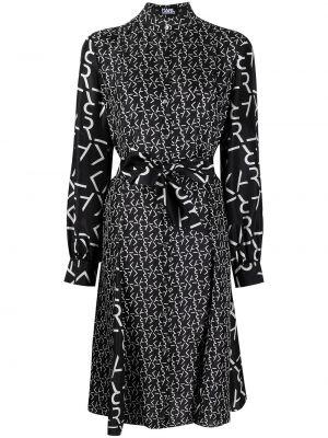 С рукавами шелковое черное платье миди Karl Lagerfeld