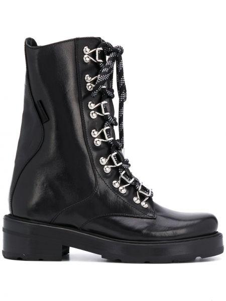 Ажурные черные сапоги без каблука на каблуке на шнуровке Olivier Theyskens