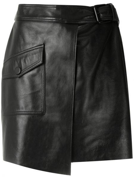 Плиссированные черные кожаные юбка-шорты Nk