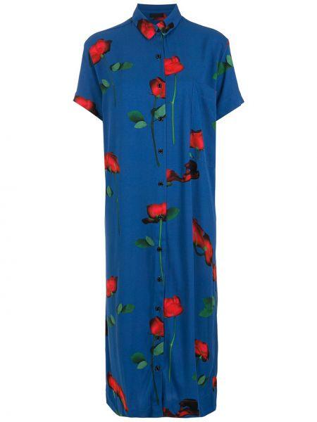 Платье миди с короткими рукавами - синее Osklen