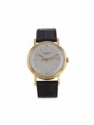 Желтые кожаные часы механические Patek Philippe