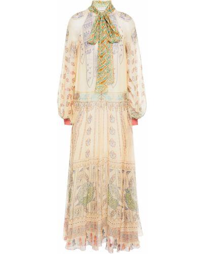 Шифоновое платье макси на пуговицах с манжетами Etro