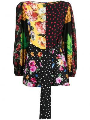 Шелковая черная блузка с вырезом Dolce & Gabbana