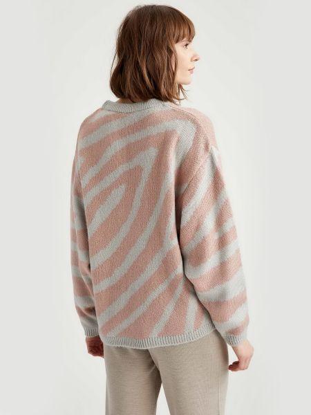 Свободный акриловый розовый длинный свитер Defacto