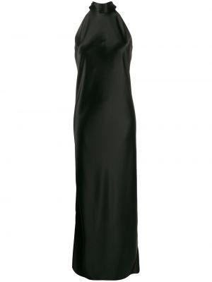 Satynowa czarna sukienka długa bez rękawów Galvan