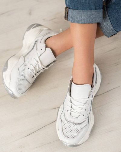 Białe buty sportowe skorzane Goodin