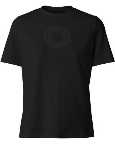 Хлопковая черная футболка с декоративной отделкой Burberry