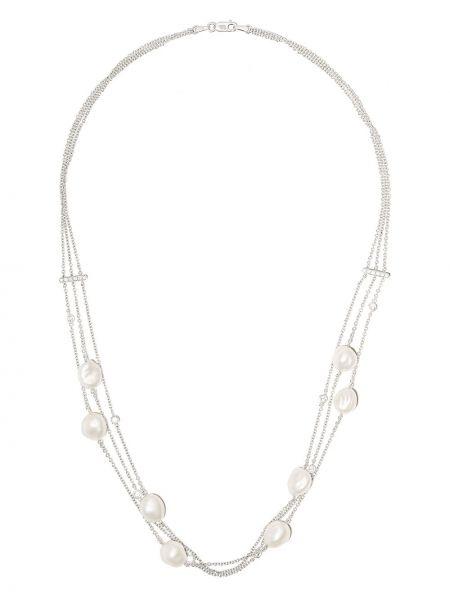Włókienniczy biały naszyjnik ze złota z diamentem Yoko London