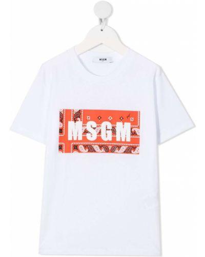 Прямая белая футболка с короткими рукавами Msgm Kids
